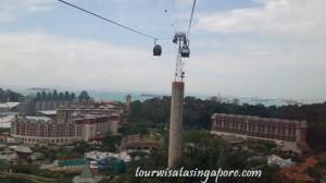 pemandangan atas cable car pulau sentosa