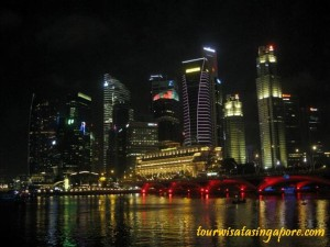 kota singapore marina bay merlion waktu malam dari esplanade